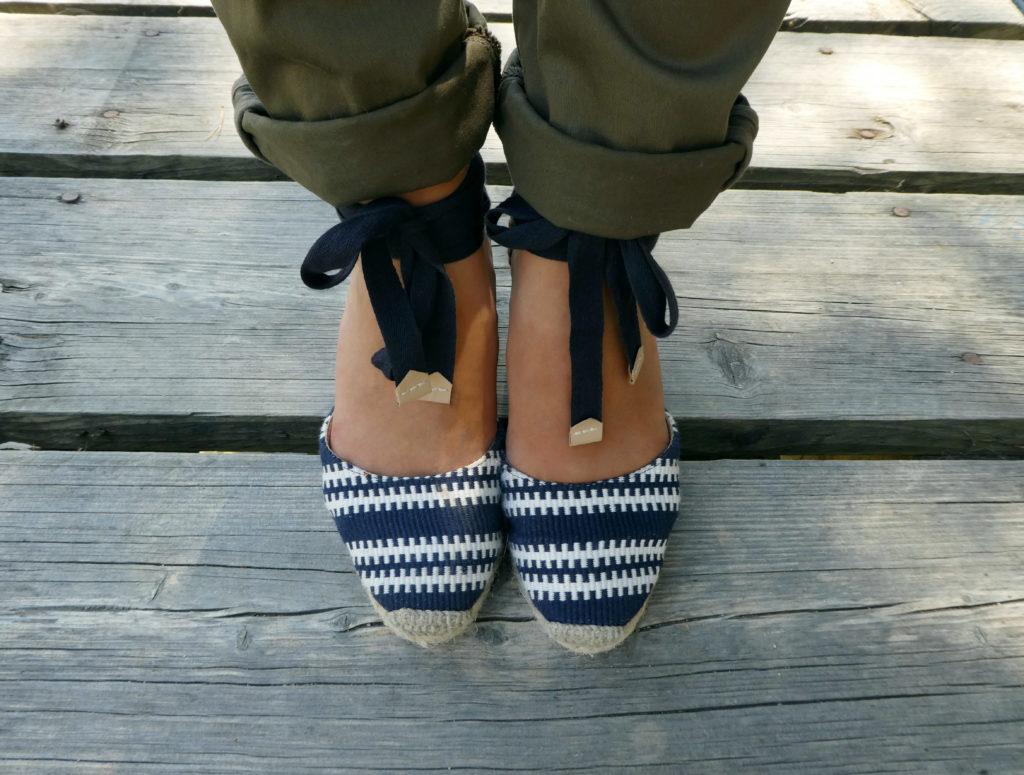 sandales paille noeud bleu marine