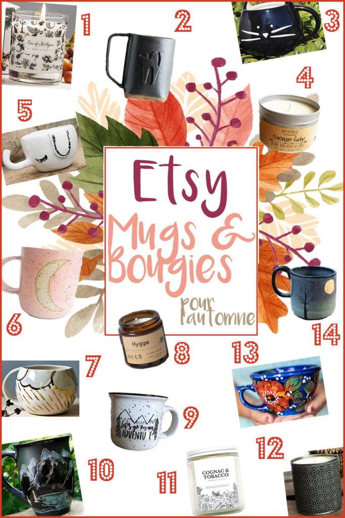 Etsy mugs bougies